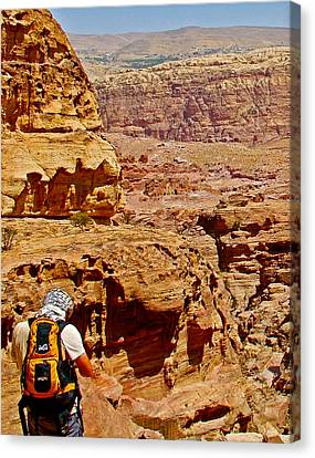 Looking Back Toward Petra Upon Returning From The Monastery-jordan  Canvas Print by Ruth Hager