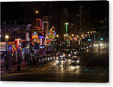 Looking Down Broadway In Nashville Canvas Print by John McGraw