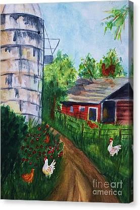 Looking Down On The Farm Canvas Print by Ellen Levinson
