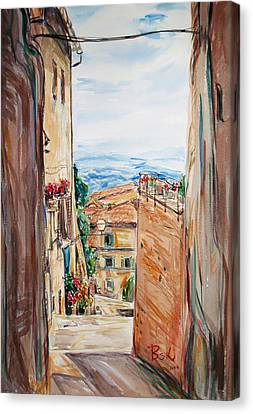 Canvas Print featuring the painting Looking Down The Village by Becky Kim