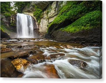 Looking Glass Falls - North Carolina Blue Ridge Waterfalls Wnc Canvas Print by Dave Allen