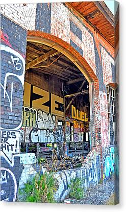 Looking Inside The Old Train Roundhouse At Bayshore Near San Francisco And The Cow Palace IIi  Canvas Print by Jim Fitzpatrick