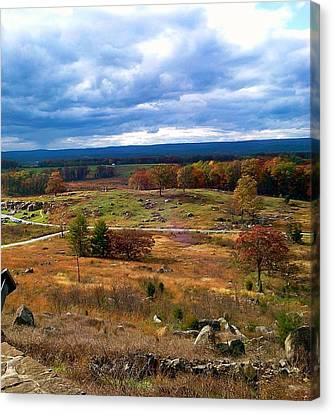 Canvas Print featuring the photograph Looking Over The Gettysburg Battlefield by Amazing Photographs AKA Christian Wilson
