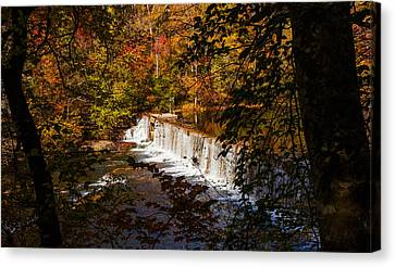 Looking Through Autumn Trees On To Waterfalls Fine Art Prints As Gift For The Holidays  Canvas Print by Jerry Cowart