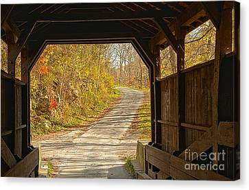 Looking Through Herns Covered Bridge Canvas Print by Adam Jewell