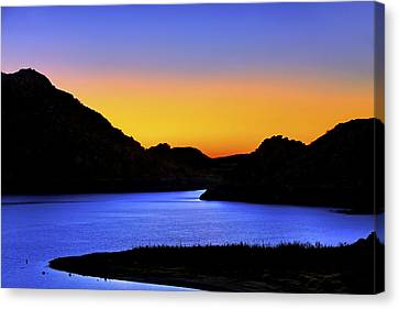 Looking Through The Quartz Mountains At Sunrise - Lake Altus - Oklahoma Canvas Print by Jason Politte