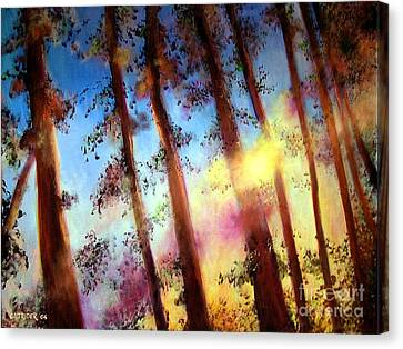 Canvas Print featuring the painting Looking Through The Trees by Alison Caltrider