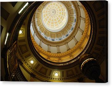 Canvas Print featuring the photograph Looking Up The Capitol Dome - Denver by Dany Lison