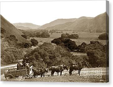Looking Up The Carmel Valley California Circa 1880 Canvas Print by California Views Mr Pat Hathaway Archives
