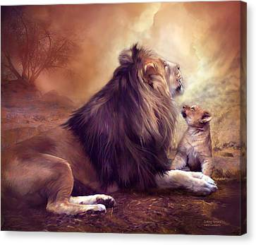 Lions Canvas Print - Looking Upward by Carol Cavalaris