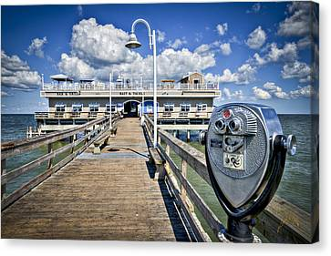 Lookout At Oceanview Fishing Pier - Color Canvas Print by Williams-Cairns Photography LLC