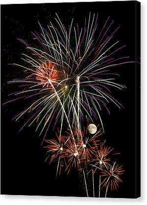 Looks Like Flowers - Fireworks And Moon Canvas Print by Penny Lisowski