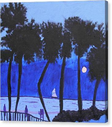 Looming Shore At Night Canvas Print by Artists With Autism Inc