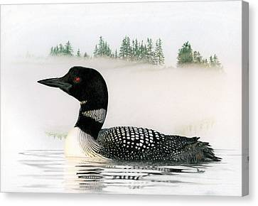 Loon In Fog Canvas Print by Brent Ander
