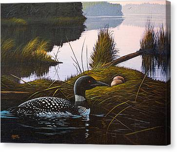 Canvas Print featuring the painting Loon Lake by Richard Faulkner