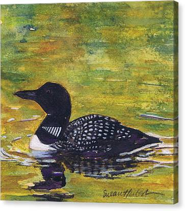Canvas Print featuring the painting Loon On Jordon Pond Maine by Susan Herbst