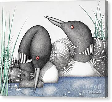 Stippling Canvas Print - Loons by Wayne Hardee