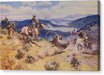 Loops And Swift Horses Are Surer Then Lead Canvas Print by Charles Russell