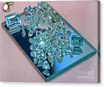 Loose Aquamarine Gemstones On Mirror Art Prints Canvas Print by Valerie Garner
