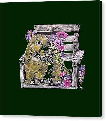 Lop Bunny In Garden Chair Canvas Print by Jeanie Beline