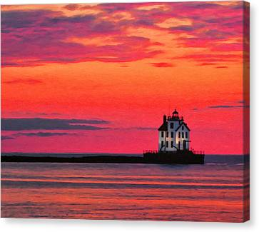 Lorain Lighthouse At Sunset Canvas Print by Michael Pickett