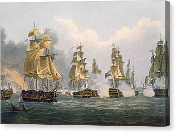 Lord Bridports Action Off Port Lorient Canvas Print by Thomas Whitcombe