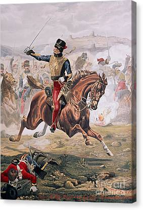 Lord Cardigan Leading The Charge Of The Light Brigade At The Battle Of Balaklava Canvas Print