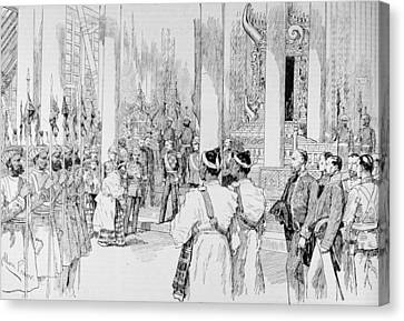 Lord Dufferin Holding Levee In The Grand Throne Room Of The Palace At Mandalay, From The Canvas Print