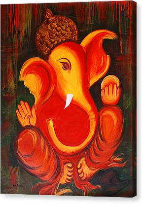 Lord Ganesh Ji Abstract II Canvas Print by Riya Rathore