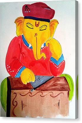 Lord Ganesha Canvas Print by Vinayak  Thorat