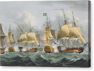 Lord Howe In The Queen Charlotte Canvas Print by Thomas Whitcombe