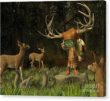 Lord Of The Forest - Toon Version Canvas Print by Fairy Fantasies