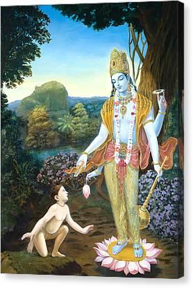 Lord Vishnu Apprears To Dhruva Canvas Print by Dominique Amendola