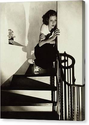Loretta Young Sitting On A Staircase Canvas Print by Edward Steichen