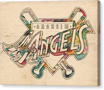 Los Angeles Angels Of Anaheim Vintage Logo Canvas Print by Florian Rodarte