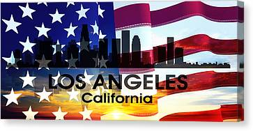 Los Angeles Ca Patriotic Large Cityscape Canvas Print