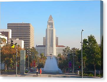 Canvas Print featuring the photograph Los Angeles City Hall by Ram Vasudev