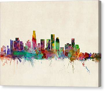 Silhouettes Canvas Print - Los Angeles City Skyline by Michael Tompsett