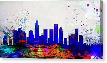 Los Angeles City Skyline Canvas Print by Naxart Studio