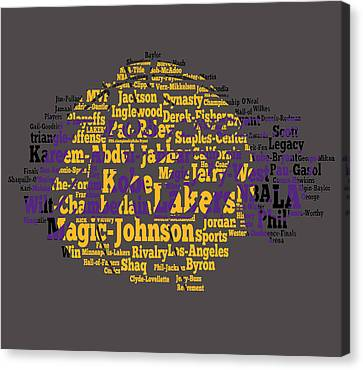 Los Angeles Lakers Word Cloud Canvas Print by Brian Reaves