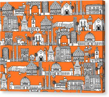 Los Angeles Orange Canvas Print by Sharon Turner