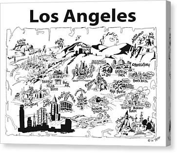 Los Angeles' Points If Interest Canvas Print