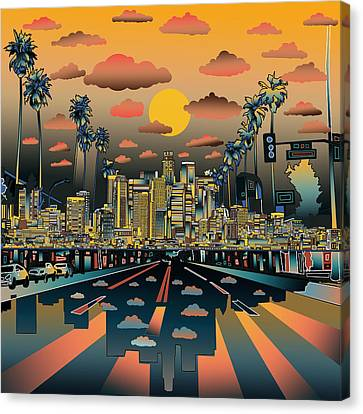 Abstract Map Canvas Print - Los Angeles Skyline Abstract 2 by Bekim Art