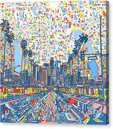 Abstract Map Canvas Print - Los Angeles Skyline Abstract 3 by Bekim Art