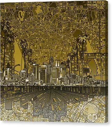 Los Angeles Skyline Abstract 4 Canvas Print