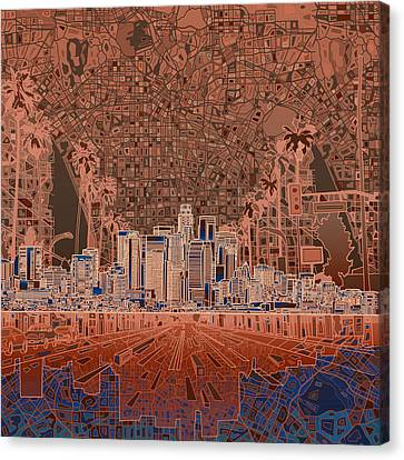 Los Angeles Skyline Abstract 7 Canvas Print