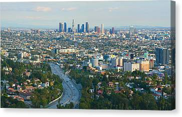 Canvas Print featuring the photograph Los Angeles Skyline And Los Angeles Basin Panorama by Ram Vasudev