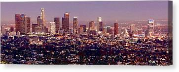 Los Angeles Skyline Canvas Print - Los Angeles Skyline At Dusk by Jon Holiday