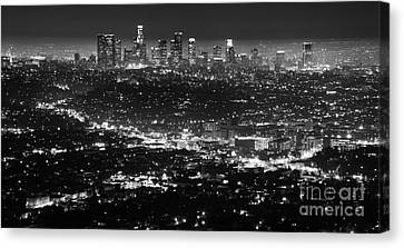 Los Angeles Skyline At Night Monochrome Canvas Print