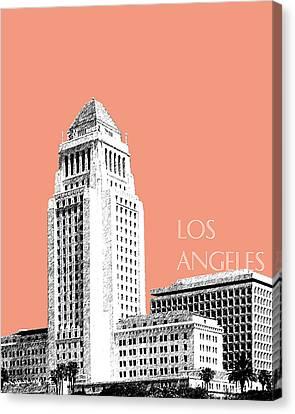 Los Angeles Skyline City Hall - Salmon Canvas Print by DB Artist